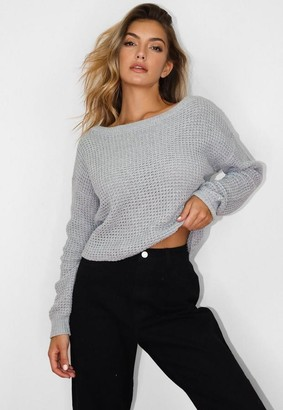 Missguided Petite Gray Off The Shoulder Sweater