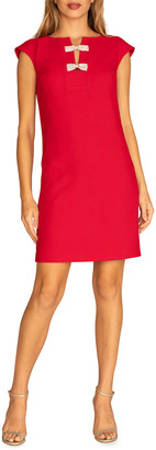 Trina Turk Luxury Sheath Dress with Rhinestone Bows