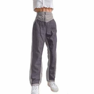 ZZLBUF Women Mid WAIS Corduroy Trousers Loose High Waist Straight-Leg Patchwork Color Block Pants (Green L)