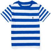Ralph Lauren Striped Cotton Slub Jersey Tee, Pure White/Blue, Size 2-4