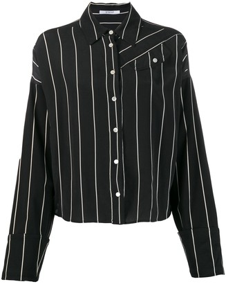 Derek Lam 10 Crosby Long Sleeve Pinstripped Silk Button-Down Shirt with Contrast Sleeves