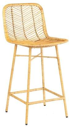 PARADISO East at Main Rattan Counter Stool with Wrapped Metal Legs Natural