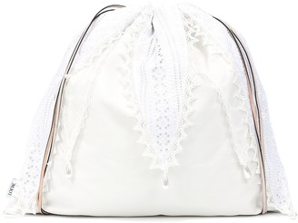 Loewe Lace-trimmed drawstring pouch