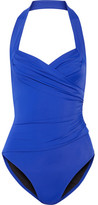 Norma Kamali Mio Ruched Halterneck Swimsuit - Bright blue