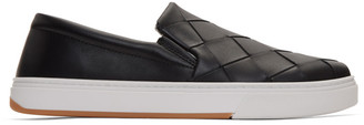 Bottega Veneta Black Maxi Intrecciato Slip-On Sneakers