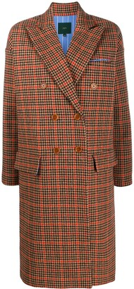 Jejia Houndstooth Check Double Breasted Coat