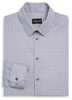 Giorgio Armani White & Blue Square Micro Plaid Shirt