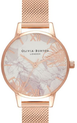 Olivia Burton Abstract Floral Mesh Strap Watch