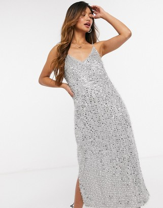Vero Moda sequin midi cami dress with side slit in silver
