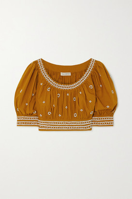 Ulla Johnson Zola Cropped Bead-embellished Cotton Top - Mustard