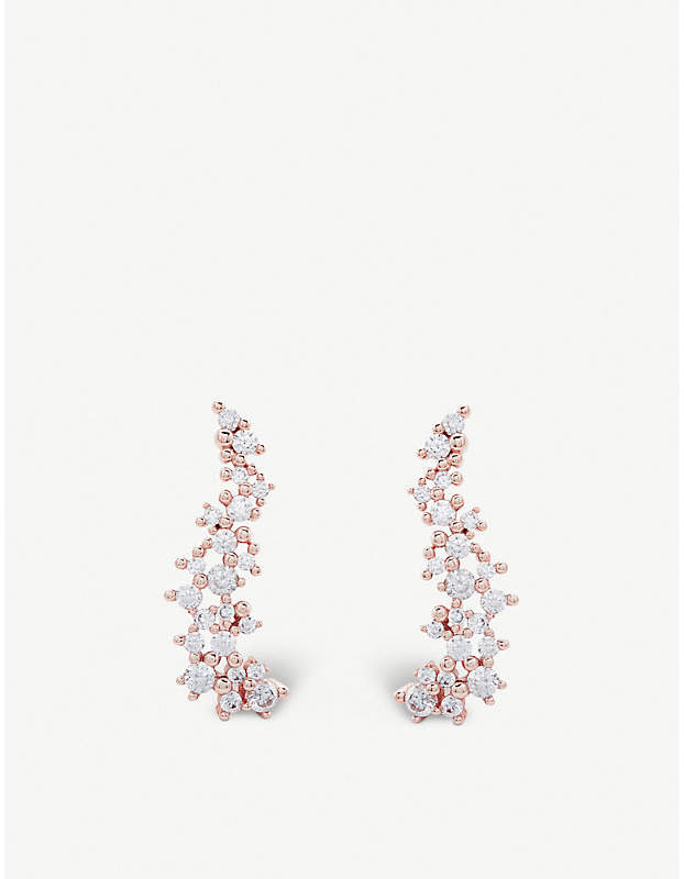 Kendra Scott Petunia 14ct rose gold-plated and cubic zirconia climber earrings