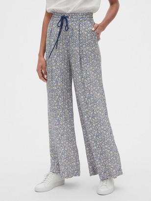 Gap Print Wide-Leg Drawstring Pants