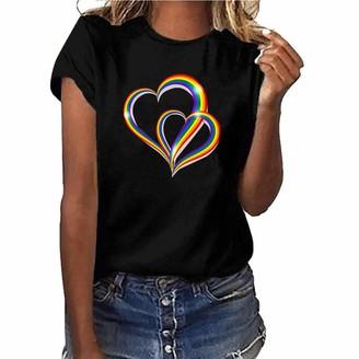 BOIYI Womens Summer Plus Size Shirt Short Sleeve T Shirt Blouse TopsLadies Rainbow Heart Print Short Sleeve T-Shirt(Pink M)