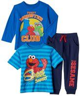 Baby Boy Elmo Long Sleeve Tee, Short Sleeve Tee & Jogger Pants Set