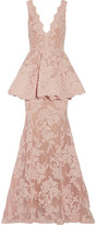 Marchesa Tulle-paneled Guipure Lace Peplum Gown - Baby pink
