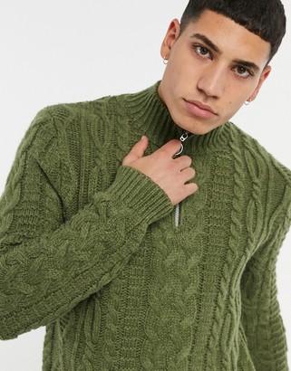 ASOS DESIGN heavyweight cable knit half zip jumper in khaki
