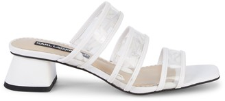 Karl Lagerfeld Paris Maci Transparent Strap Block-Heel Slides