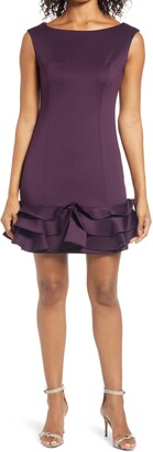 Donna Ricco Ruffle Hem Sleeveless Scuba Dress