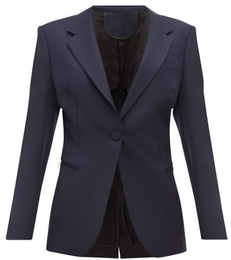 Petar Petrov Janis Single Breasted Contrast Back Wool Blazer - Womens - Black Navy