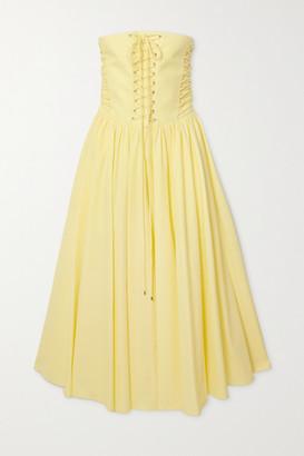 Philosophy di Lorenzo Serafini Strapless Lace-up Cotton-poplin Midi Dress - Yellow