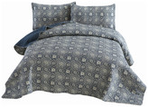 Lapis Dada Bedding Collection Blue Quilted Coverlet Bedspread Set, Navy Floral Star Print, Que