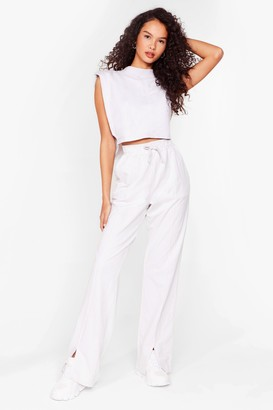 Nasty Gal Womens Tee You Later Crop Top and Wide-Leg Joggers Set - Beige - 6