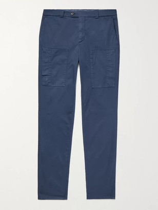 Brunello Cucinelli Stretch-Cotton Twill Cargo Trousers - Men - Blue