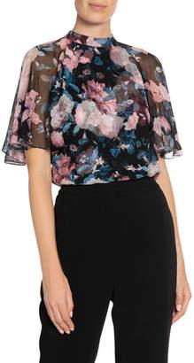 Erdem Bennett Dusk Bouquet Silk Flutter-Sleeve Blouse