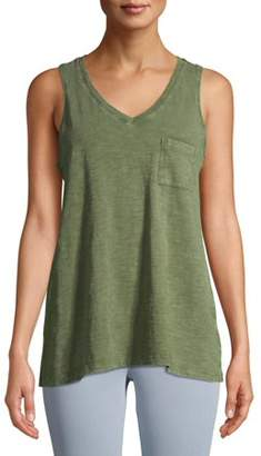 Time and Tru Women's Mineral Wash Pocket Tank Top