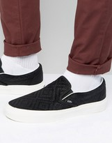 Vans Classic Slip-On Trainers In Braided Suede