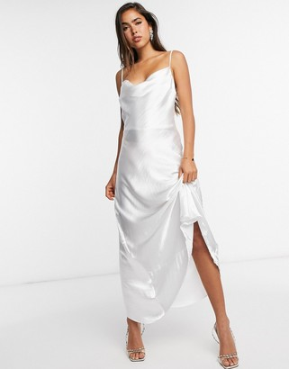 ASOS DESIGN satin maxi dress with strap back detail