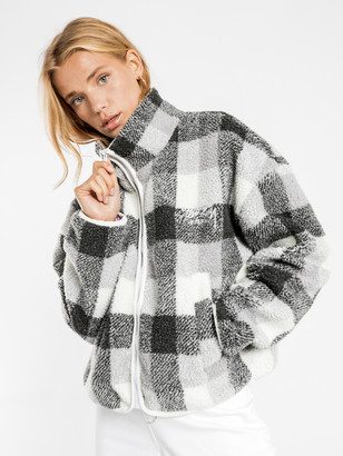 Stussy Dakota Sherpa Jacket in Black Grey Check