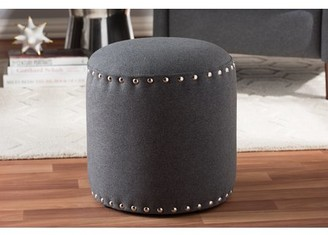 Baxton Studio Rosine Modern and Contemporary Dark Grey Fabric Upholstered Nail Trim Ottoman