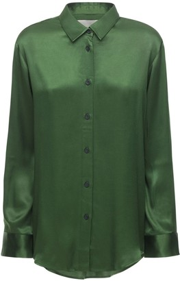 ASCENO The Milan Bamboo Satin Pajama Shirt