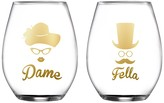 Jay Import Dame & Fella Stemless Goblet - Set of 2