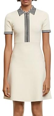 Sandro Paulzy Stripe Trim Knit A-Line Dress