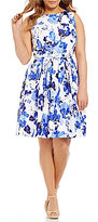 Jessica Howard Plus Belted Floral-Print Fit-and-Flare Dress
