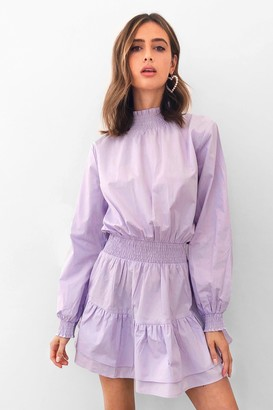Nasty Gal Womens Frill I Found You High Neck Mini Dress - Purple - 4