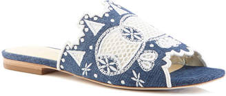Isa Tapia Nile Embroidered Denim Sandals