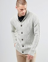 Brave Soul Shawl Neck Cardigan In Cable Knit