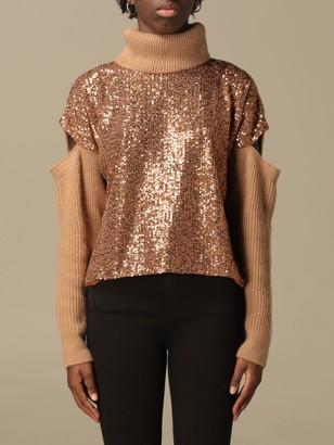 Pinko Blizzard Turtleneck Pullover With Sequin Panel