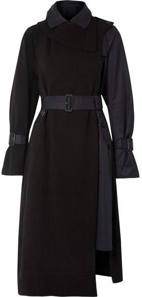 Sacai Wool And Cotton-gabardine Trench Coat - Black