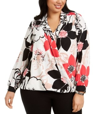 Alfani Plus Size Floral-Print Surplice Top, Created for Macy's