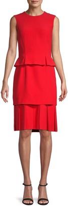Alexander McQueen Pleated Skirt Peplum Dress