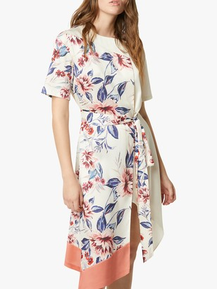French Connection Claribel Floral Print Draped Dress, Classic Cream/Multi