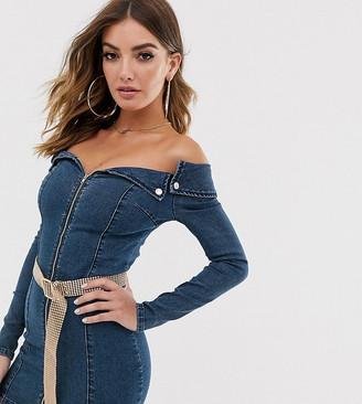N. Liquor Poker off shoulder denim mini dress with rhinestone belt-Blue