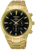 Seiko SSC320 Men's Solar Stainless Gold Bracelet Band Black Dial Gold Watch