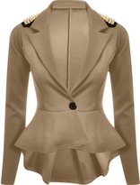 FashionMark Womens Spikes Studded Crop Peplum Frill Button Blazer Jacket Coat