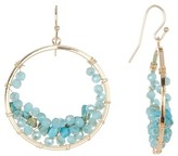 Natasha Accessories Wire-Wrapped Crystal & Stone Bead Open Circle Drop Earrings