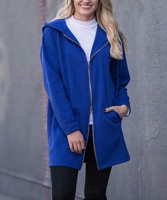 Zenana Women's Sweatshirts and Hoodies DENIMBLUE_IPB - Denim Blue Fleece-Lined Oversize Zip-Up Hoodie - Women